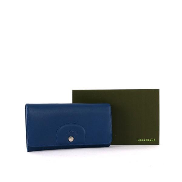 【雪曼國際精品】LONGCHAMP小羊皮對折長夾/波斯藍─新品現貨