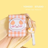 YOHOO!/原創chic日韓 卡通格子可愛手提短款零錢包女三折pu卡包包 青木鋪子