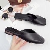 韓版新款春夏季復古方頭平底拖鞋奶奶鞋單鞋包頭半拖穆勒鞋涼拖女