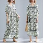 長裙 洋裝 中大尺碼 女裝mm波西米亞文藝遮肚子棉質洋氣中長款V領連衣裙子 新年特惠
