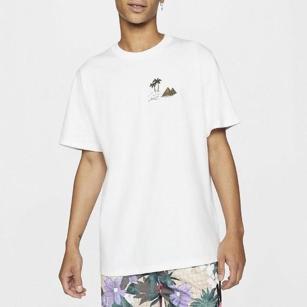 R-NIKE SB Skate T-Shirt T恤 男款 滑板 圓領 金字塔 人面獅身 棉質 白 棕 CU0297-100