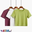 短袖T恤 素色T恤羊城故事白色短袖t恤女短款夏季2021年新款修身純色圓領上衣體恤【寶貝 上新】
