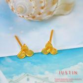 Justin金緻品 黃金耳環 靜謐花漾 金飾 9999純金耳環 花朵 春