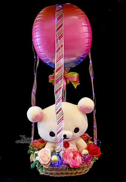 牛奶熊繪本風公仔幸福熱氣球,金莎花束/情人節禮物/婚禮佈置/派對慶生,節慶王【Y673686】