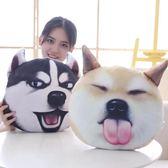 表情包哈士奇二哈抱枕公仔抖音毛絨玩具韓國搞怪柴犬狗狗玩偶創意