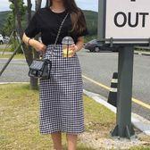 新款夏季大碼高腰黑白格子半身裙中長款鬆緊腰韓版a型胖mm潮 海角七號