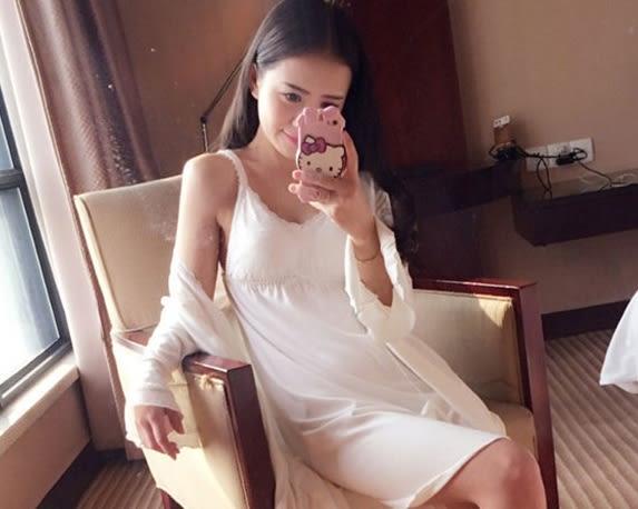 帶胸墊睡衣女春夏 性感蕾絲純棉莫代爾兩件套薄款吊帶睡裙家居服 -wow007