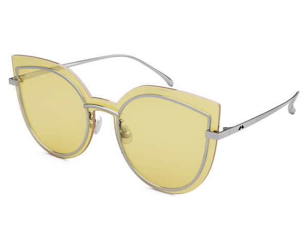 【台南 時代眼鏡 MOLSION】陌森 MS7012 A90 貓眼造型墨鏡 橢圓框太陽眼鏡 黃鏡片 銀框 59mm
