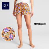 Gap女裝 蕾絲印花家居鬆緊腰短褲 314626-橘色夏日花卉