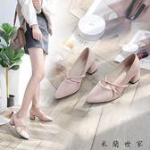 尖頭中跟單鞋粗跟淺口高跟鞋女鞋