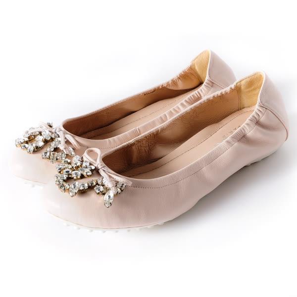 DeSire 華麗寶石蝴蝶結舒適平底娃娃鞋 -粉