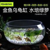 魚缸透明玻璃辦公桌創意水培圓形龜缸小型烏龜迷你桌面金魚小魚缸【限時八折】