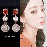 925純銀針  韓國優雅氣質 紅方塊圓形珍珠  耳環-維多利亞181152