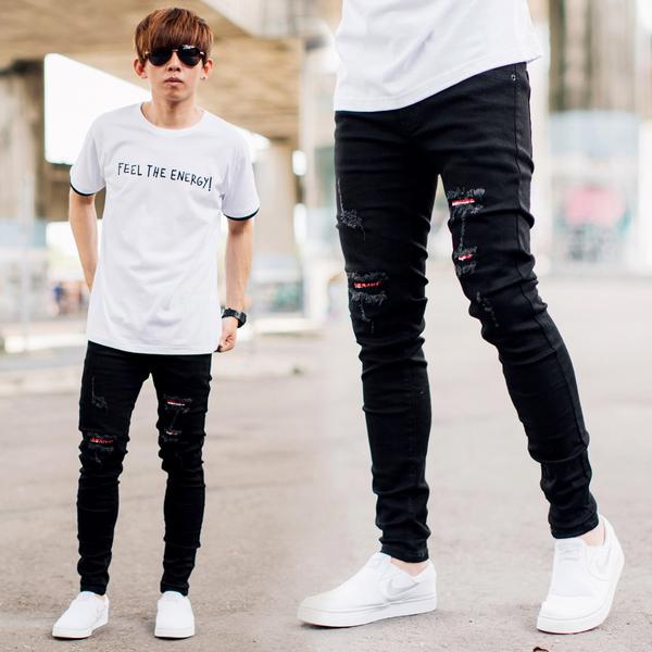 牛仔褲 割破抽鬚紅色補丁合身窄版黑色牛仔褲【NB0842J】