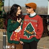 圣誕毛衣男女情侶裝秋冬季百搭寬松套頭外穿慵懶風針織衫上衣外套