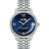 Coach Delancey 紐約流星雨晶鑽腕錶14502654-藍x銀/36mm 14502654