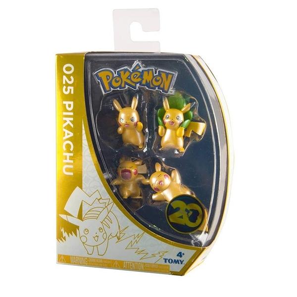 [9美國直購] Pokemon 皮卡丘 T18725 20th Anniversary Special Edition Pikachu Mini Figures (Pack of 4)