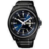 日本CITIZEN星辰Eco-Drive 海洋之心星期日期大三針腕錶AW0024-58L黑x藍