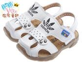 布布童鞋 時尚白色四葉草真皮毛毛蟲護趾涼鞋(17~21.5公分) [ OIC805M ] 白色款