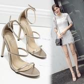 高跟涼鞋 高跟鞋 夏季新款歐美經典光面細帶鏤空性感韓版女鞋子【多多鞋包店】ds3950