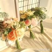 清新模擬花束茶玫玫瑰假花家居客廳餐桌裝飾花絹花插花花藝擺件 ATF 安妮塔小舖
