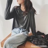 長袖T恤 莫代爾圓領長袖T恤女秋季新款寬鬆韓版春秋上衣內搭打底衫 瑪麗蘇