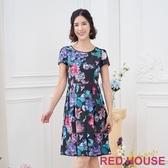 RED HOUSE-蕾赫斯-印花打褶洋裝(黑色)