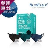 藍鷹牌 台灣製 成人立體型防塵口罩 五層防護抗UV款 50片x1盒 (深黑/深藍/深綠)【免運直出】