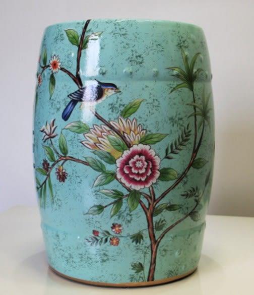 協貿國際美式花鳥陶瓷鼓凳1入