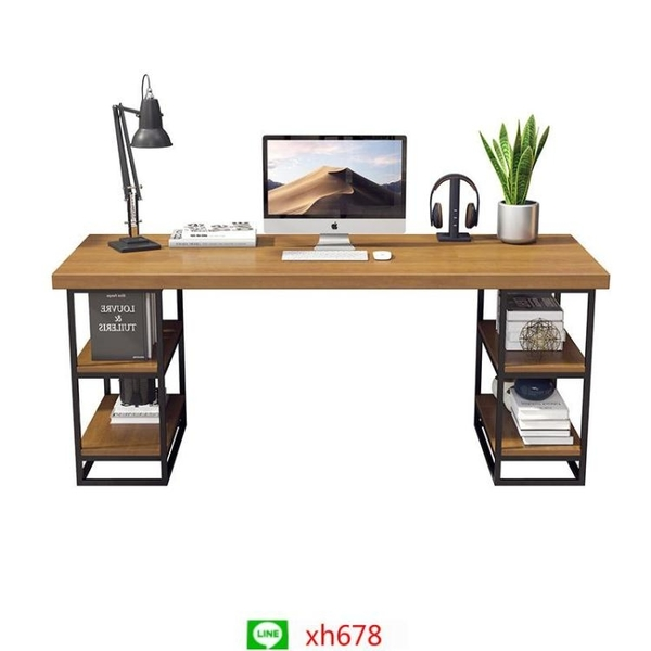 現代簡約實木辦公桌辦公室職員電腦桌椅組合書房多功能鐵藝寫字桌【頁面價格是訂金價格】
