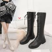長靴 歐美時尚綁帶厚底平底鞋中跟高筒靴馬丁長靴騎士機車米白色女靴子  魔法鞋櫃