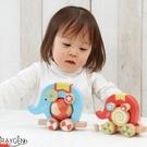 木頭製品 玩具大象 拖拉車 滾輪設計 兒童益智玩具