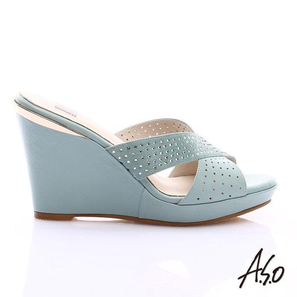 A.S.O 璀璨注目 牛皮交叉帶楔型涼拖鞋  淺藍