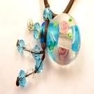 【Ruby工作坊】NO.21S藍精油雕花瓶中國結項鍊