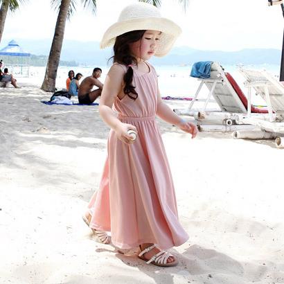 心機小露背沙灘背心長裙洋裝 親子裝 大童 連身裙 橘魔法 Baby magic 現貨 沙灘裙 長洋裝