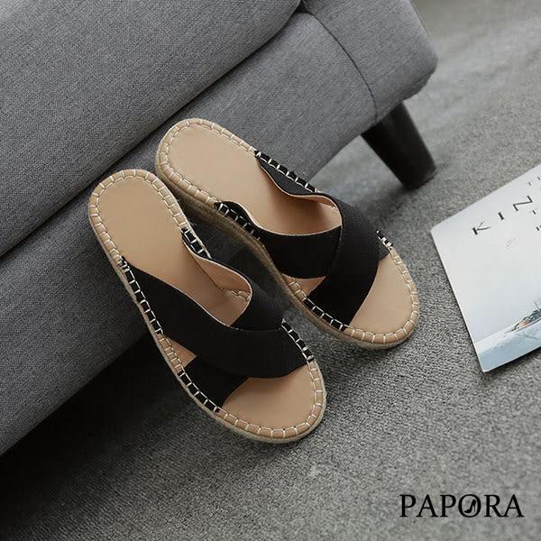 PAPORA麻繩交叉厚底拖鞋KE22黑/杏/棕(偏大一碼)