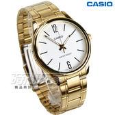 CASIO卡西歐 MTP-V005G-7B 簡約數字時刻 指針男錶 學生手錶 金電鍍x白面 防水手錶 MTP-V005G-7BUDF