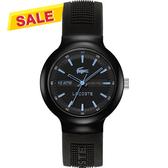 Lacoste 鱷魚 TR90經典傳奇時尚腕錶-黑x淺藍時標 L2010719