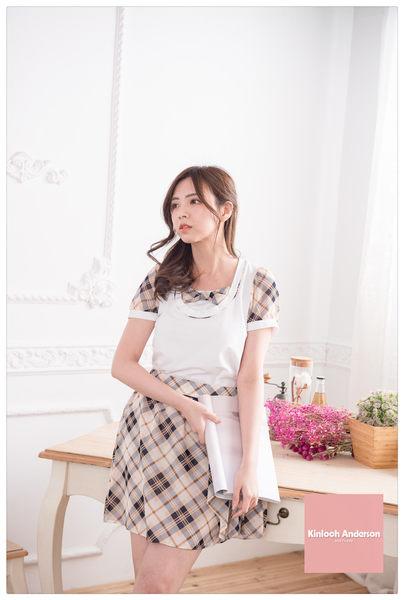 【Kinloch Anderson 金安德森女裝】剪接配格假兩件上衣(假兩件 格布 百搭 氣質款)