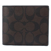 COACH經典LOGO PVC皮革多卡短夾(附可拆式證件夾)(咖啡色)196152-1