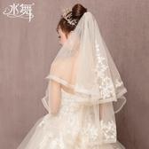 新娘頭飾水舞新娘2019年新款日韓香檳色雙層蕾絲頭紗短款婚紗頭紗 R0209 交換禮物
