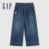 Gap女幼童 棉質鬆緊寬鬆式闊腿牛仔褲 609744-中度水洗