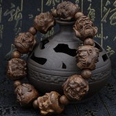 手鏈 越南皮黑木沉香木雕刻十八羅漢貔貅佛珠男女款手串黑檀烏木手鏈【快速出貨八折鉅惠】