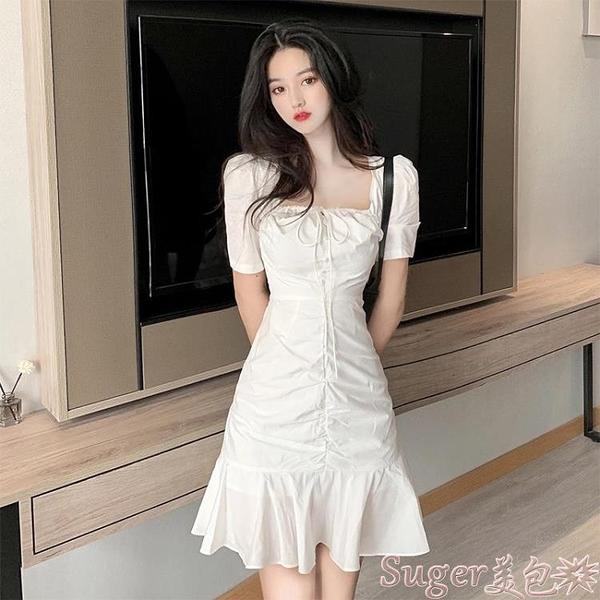 魚尾洋裝 赫本風可甜可鹽小個子法式初戀泡泡袖白色zmzf魚尾裙連身裙子女夏 suger 新品