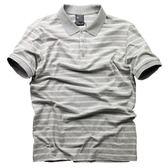 夏季潮牌薄款有領短袖T恤男 寬鬆條紋翻領運動體恤polo短袖衫男士 【全館85折最後兩天】