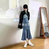 2021新款春夏牛仔半身裙女設計感高腰a字荷葉邊中長款包臀魚尾裙 快速出貨