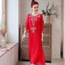 洋裝連身裙洋女中國風棉麻文藝寬鬆休閒盤扣刺繡亞麻顯瘦長裙