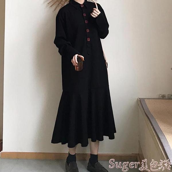長袖洋裝大碼女裝秋季新款長袖復古顯瘦連身裙胖妹妹200斤長款過膝打底衫 suger