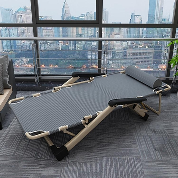 摺疊床單人午休簡易午睡家用便攜辦公室神器行軍陪護兩用躺椅WD