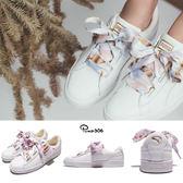 Puma 休閒鞋 Basket Heart Geo Camo 全白 白 皮革 粉色緞帶 緞帶鞋 大蝴蝶結 女鞋【PUMP306】 36567301